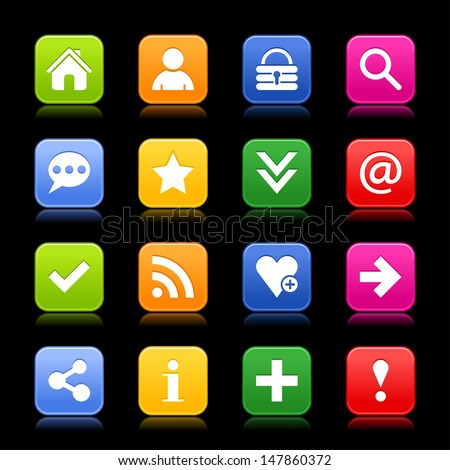 16 satin icon with basic sign set. Rounded square web internet button with color reflection. Green, orange, blue, yellow, red shapes on black background. Vector illustration design element 8 eps - stock vector