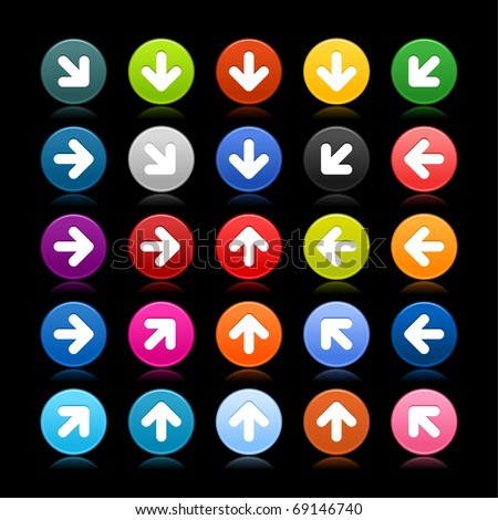 25 satined web 2.0 button with arrow icon. Colored round shape with reflection on black background - stock vector