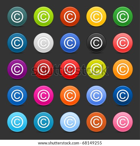 25 satined web 2.0 button with copyright sign. Colorful round shapes with shadow on gray background - stock vector