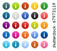 25 satined web 2.0 button with info icon. Colored round shapes with shadow on white - stock vector