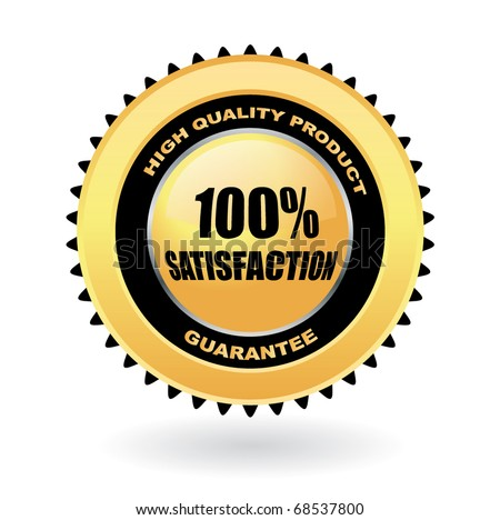 100% satisfaction guarantee vector gold emblem - stock vector