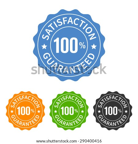 100% satisfaction guaranteed seal or label flat icon - stock vector