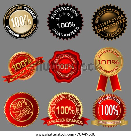 100% Satisfaction Guaranteed Seals - stock vector