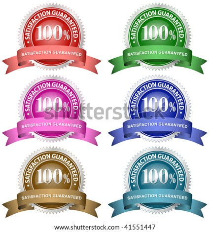 100% Satisfaction Guaranteed Set. A variety of different colour guarantee badges. - stock vector