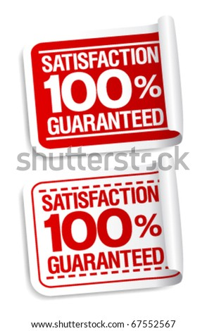 100% satisfaction guaranteed stickers set. - stock vector