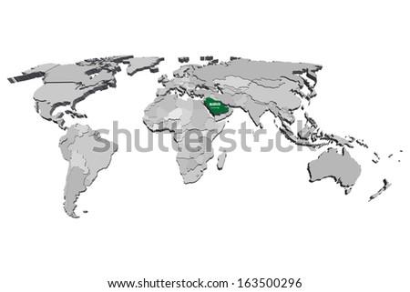 Saudi Arabia Map Vector 3d - stock vector