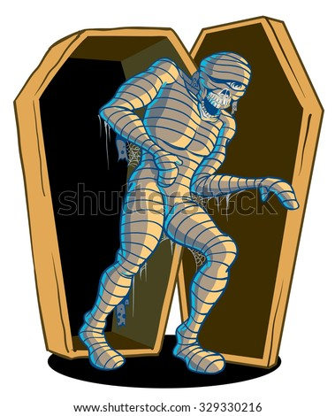 Scary egyptian mummy coming to life and climbing out of sarcophagus - stock vector