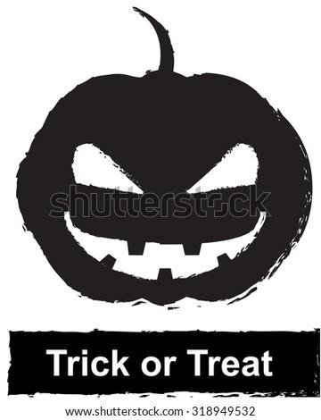 Scary Halloween pumpkin,Trick or Treat - stock vector