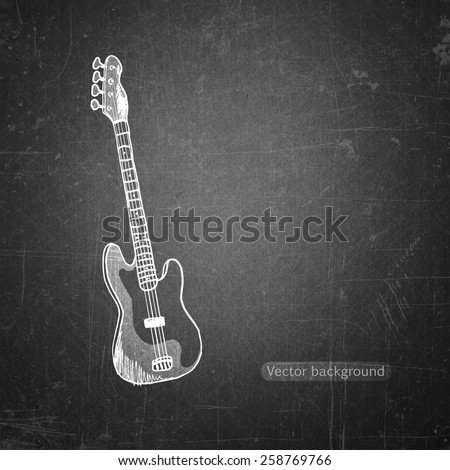 school sketches  Bass guitar on blackboard, vector background - stock vector