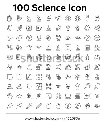 100 Science thin line vector icon set
