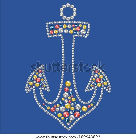 Sea anchor from brilliant stones,  rhinestone applique, decoration for clothing (abstract vector art illustration)