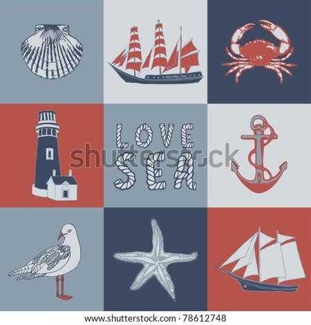 Sea love abstract vector illustration - stock vector