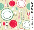 seamless background retro kitchen - stock vector