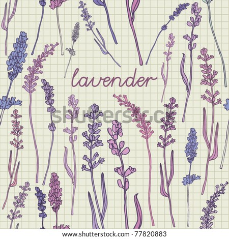 seamless background  with lavender - stock vector