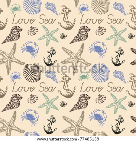 seamless background with Starfishes and Cockleshells - stock vector
