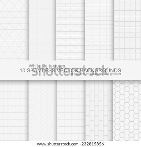 10 Seamless backgrounds of white tile texture. Does not contain gradients and transparency - stock vector