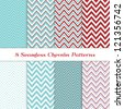 8 Seamless Chevron Patterns in Aqua Blue, Dark Red, White and Silver. Global colors - easy to change all patterns. Nice background for Scrapbook or Photo Collage. Modern Christmas Backgrounds. - stock vector