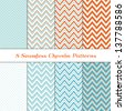 8 Seamless Chevron Patterns in Aqua Blue, Turquoise, White and Coral Orange. Pattern Swatches made with Global Colors included. Matches my other pattern packs Image IDs: 121349323 and ID: 128027705 - stock photo