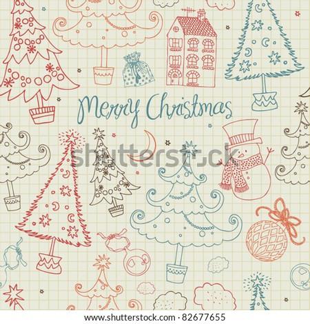 seamless christmas card with snowman - stock vector