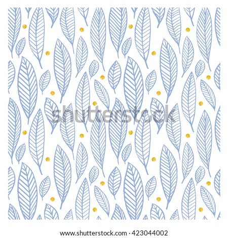 Seamless decorative template texture with leaves. Gold circle. Trendy hand dawn pattern. Seamless summer patterns in trendy pantone colors of 2016. Serenity and rose quartz. leaves  pattern. - stock vector