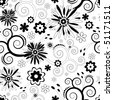 Seamless floral black and white pattern  (vector) - stock vector