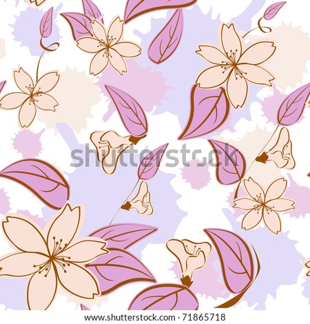 Seamless floral pattern in pastel colors. - stock vector