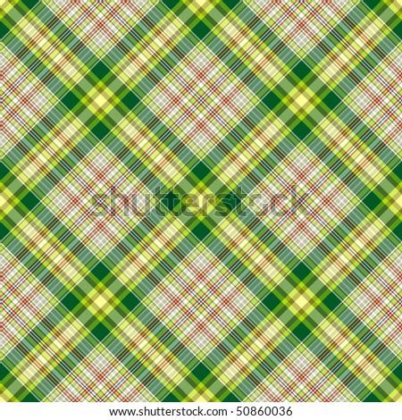 Seamless green and grey checkered diagonal pattern (vector, EPS 10) - stock vector