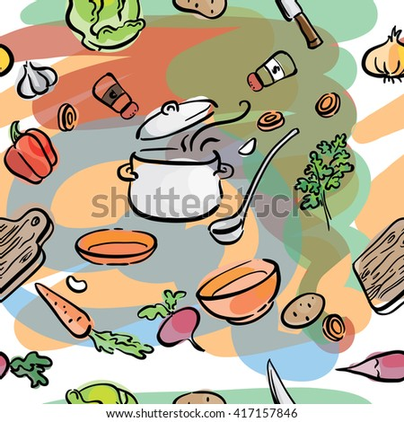 seamless illustration of vegetables ingredients for soup