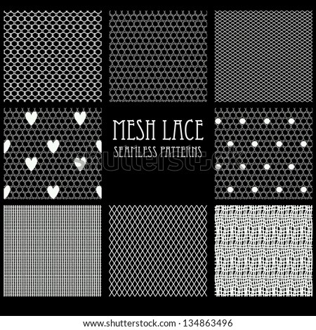 8 seamless mesh lace patterns. - stock vector
