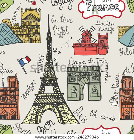 01.11.2014.Seamless pattern.Doodles Vector illustration famous Paris landmark:Notre Dame,Eiffel tower,Arc de Triomphe,Moulin Rouge,Louvre.Colored Background.Hand drawn Retro sketchy.French words. - stock vector