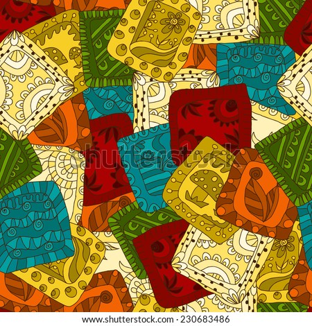 Seamless pattern of drawing doodle. patchwork - stock vector