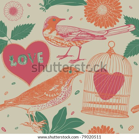 seamless pattern with birds and hearts - stock vector