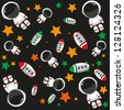 seamless pattern with cartoon cosmonauts and spaceships - stock vector