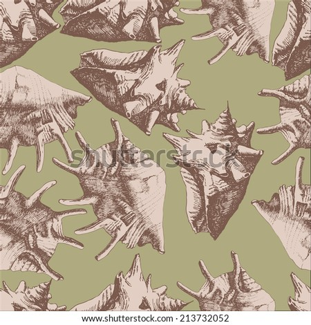 Seamless pattern with different shells on a light background - stock vector