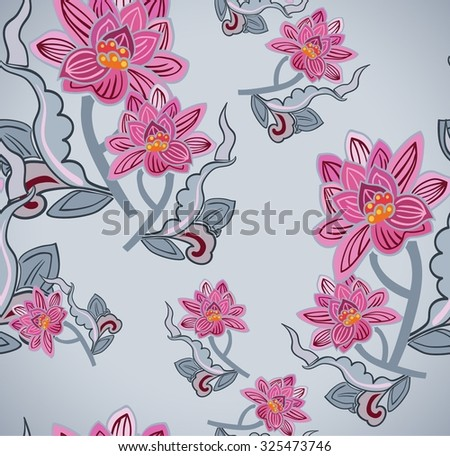 Seamless pattern with Lotus flower