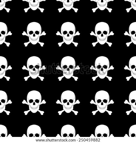 seamless pattern with skulls and bones. vector  illustration. vector wallpaper. design element. - stock vector