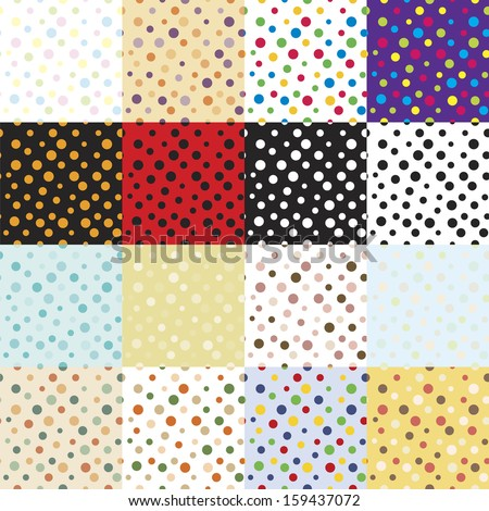"""16 seamless patterns  for textile snd craft  """"mini bubbles."""" Multi-colored, monochrome, vintage. Vector eps10. - stock vector"""