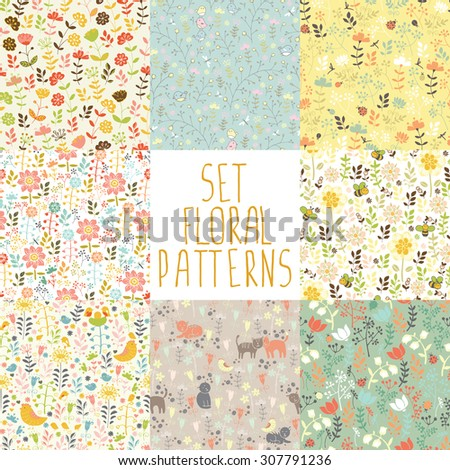 8 seamless patterns with hand painted flowers - stock vector