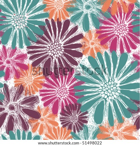 Seamless retro flowers in fashion trend colors - stock vector