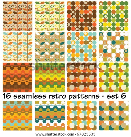 16 seamless retro patterns - set 6 - stock vector