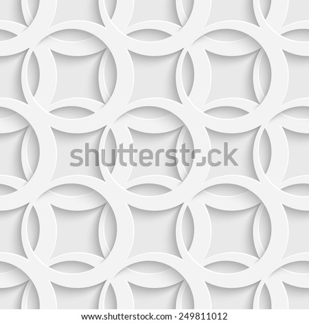 Seamless Ring Pattern. Vector Oriental Background. Regular White Texture - stock vector
