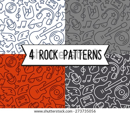 4 seamless rock music background textures, hand drawn doodle style. - stock vector