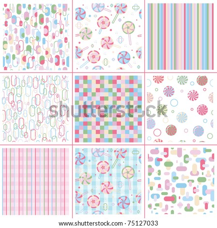 Seamless sweet patterns for design. - stock vector