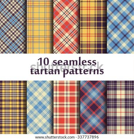 10 seamless tartan patterns - stock vector
