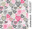 seamless wallpaper with hand drawn Valentine hearts - stock