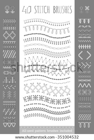 40 seamless white stitch brushes. Vector set of sewing seams, borders, page decorations and dividers. All used pattern brushes included. - stock vector