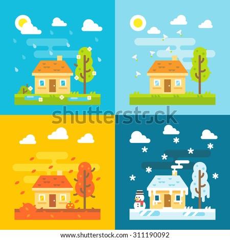 4 seasons house flat design set illustration vector - stock vector