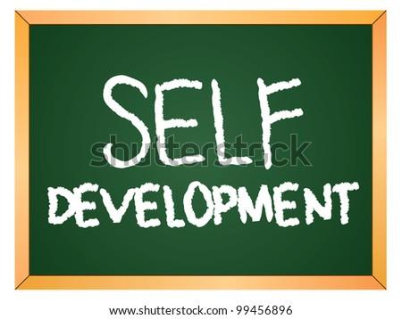 """""""self development"""" word written on chalkboard - stock vector"""