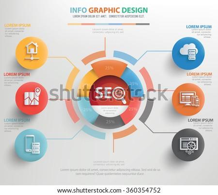 SEO info graphic design,clean vector - stock vector