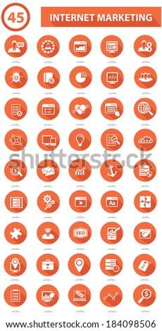 45 SEO & Marketing icons on white background,Orange version - stock vector